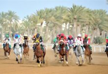 صورة السباق الحادي عشر لنادي سباق الخيل السلطاني بميدان الرحبة ببركاء..